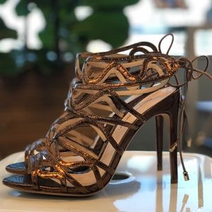 Alexandre Birman Melody Strappy Heels in Bronze 37